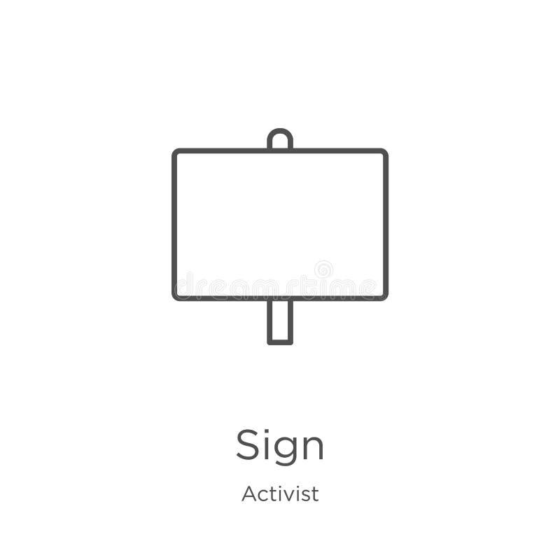 vecteur d'icône de signe de collection d'activiste Ligne mince illustration de vecteur d'icône d'ensemble de signe Contour, ligne illustration libre de droits