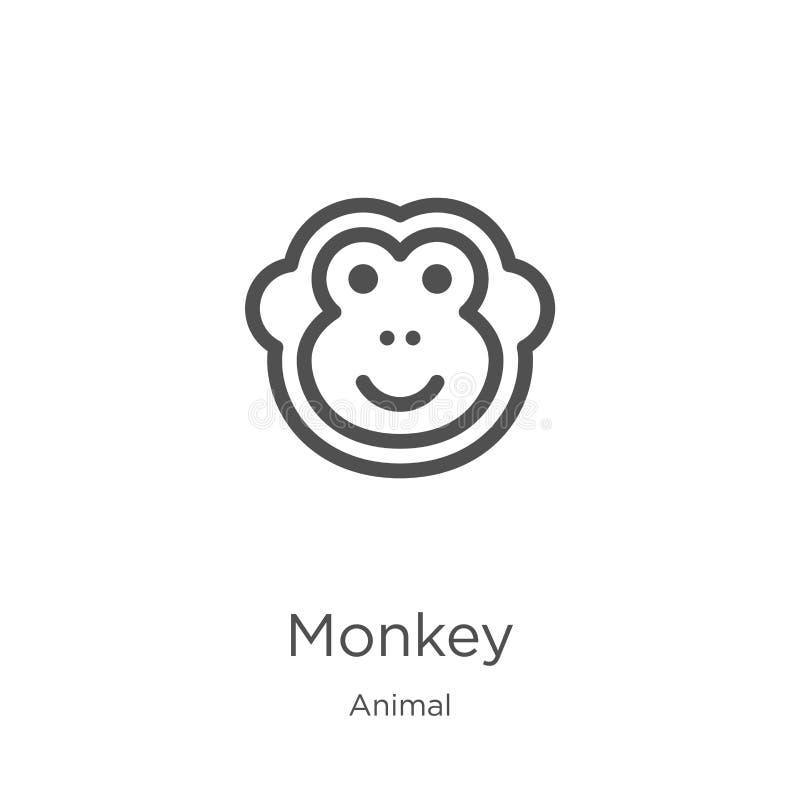 vecteur d'icône de singe de la collection animale Ligne mince illustration de vecteur d'ic?ne d'ensemble de singe Contour, ligne  illustration de vecteur