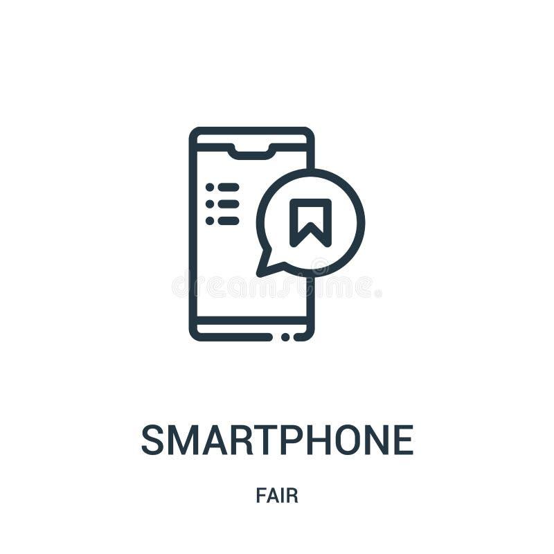 vecteur d'icône de smartphone de la collection juste Ligne mince illustration de vecteur d'icône d'ensemble de smartphone Symbole illustration stock