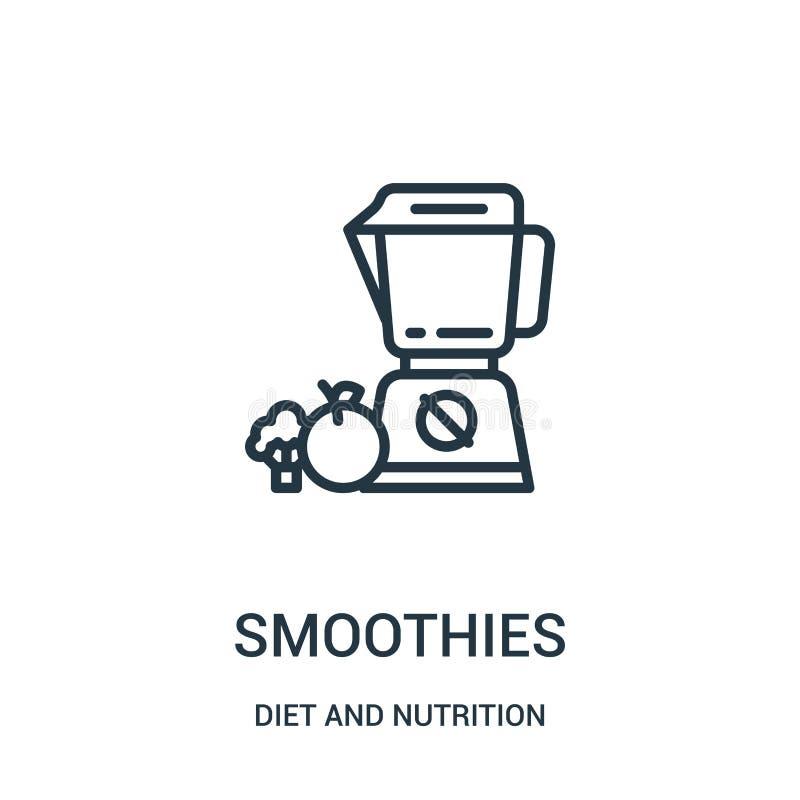 vecteur d'icône de smoothies de collection de régime et de nutrition Ligne mince illustration de vecteur d'icône d'ensemble de sm illustration de vecteur
