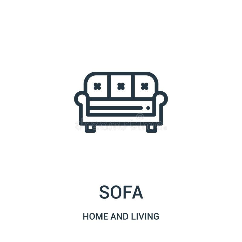 vecteur d'icône de sofa de maison et de collection vivante Ligne mince illustration de vecteur d'icône d'ensemble de sofa Symbole illustration libre de droits