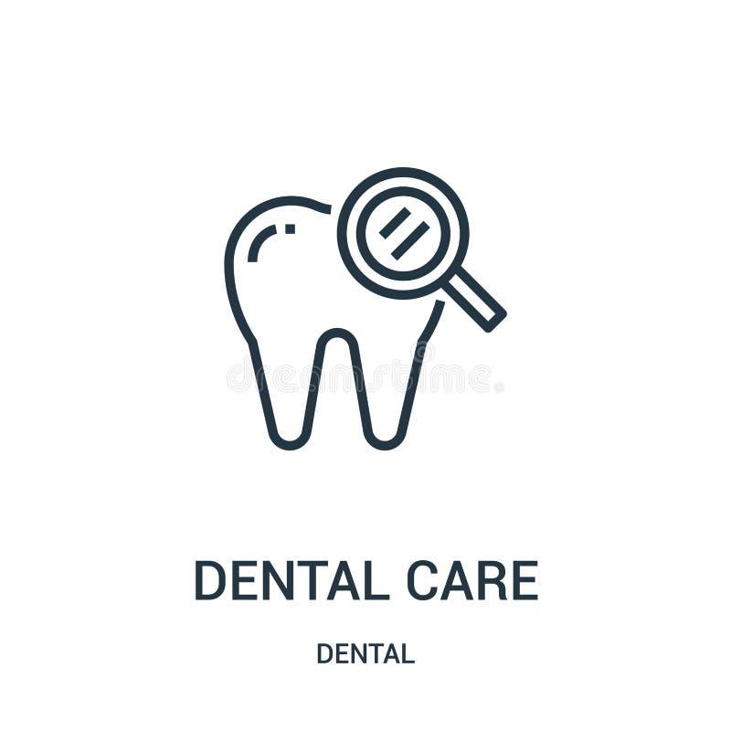 vecteur d'icône de soins dentaires de la collection dentaire Ligne mince illustration de vecteur d'icône d'ensemble de soins dent illustration de vecteur