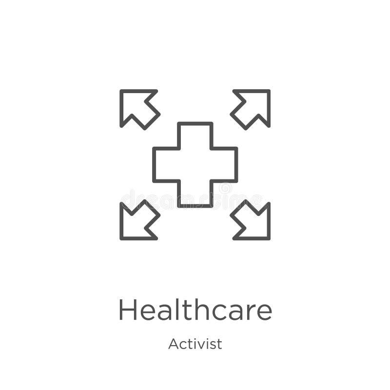 vecteur d'icône de soins de santé de collection d'activiste Ligne mince illustration de vecteur d'icône d'ensemble de soins de sa illustration stock