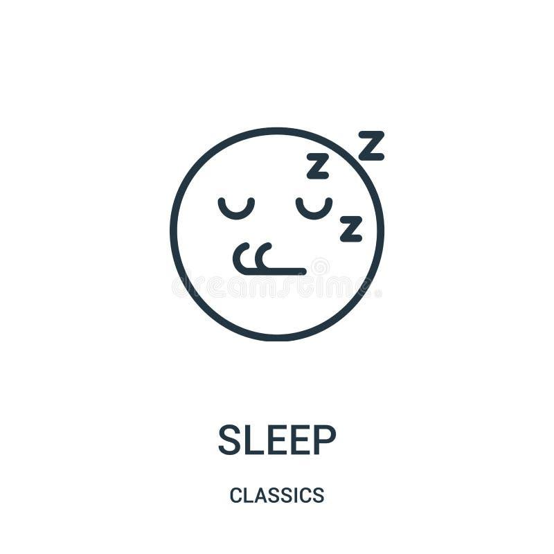 vecteur d'icône de sommeil de collection de classiques Ligne mince illustration de vecteur d'icône d'ensemble de sommeil Symbole  illustration stock