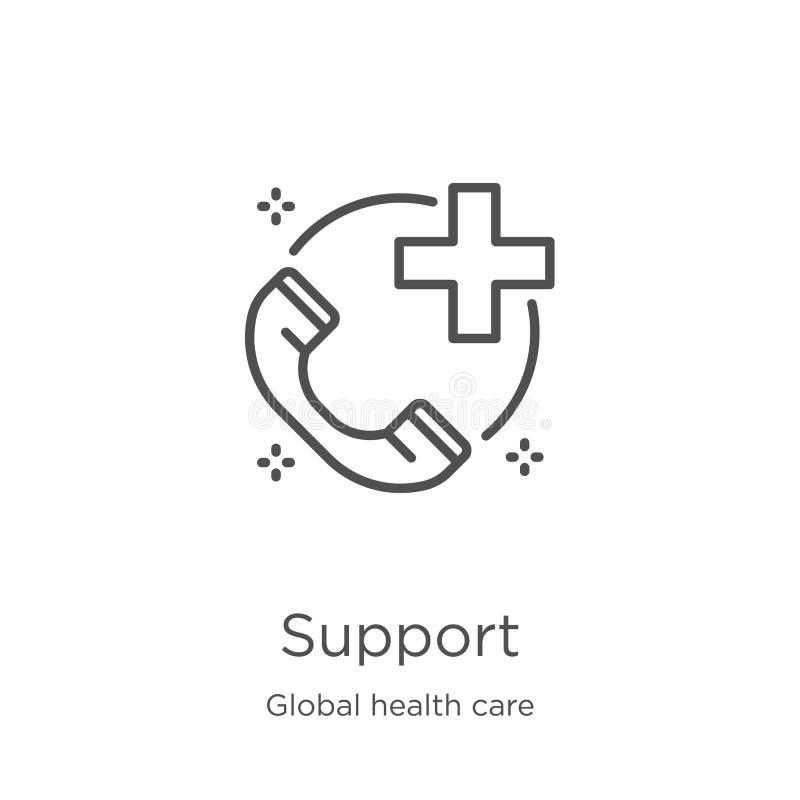 vecteur d'icône de soutien de la collection globale de soins de santé Ligne mince illustration de vecteur d'ic?ne d'ensemble de s illustration stock