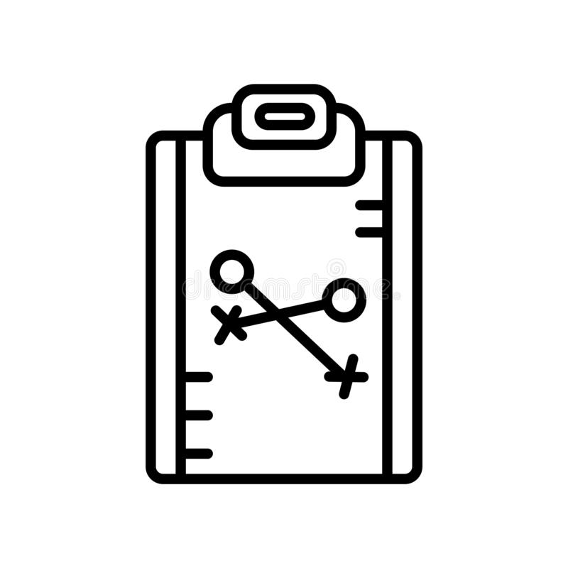 Vecteur d'icône de stratégie d'isolement sur le fond blanc, le signe de stratégie, la ligne ou le signe linéaire, conception d'él illustration stock