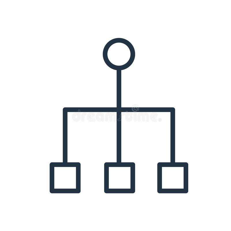 Vecteur d'icône de structure hiérarchisée d'isolement sur le fond blanc, signe de structure hiérarchisée illustration stock