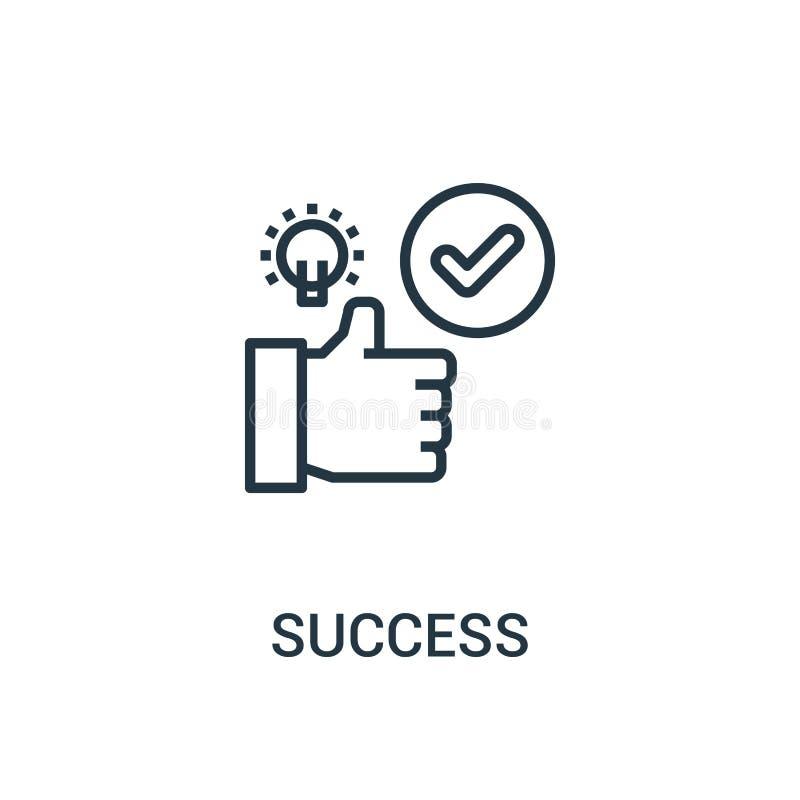 vecteur d'icône de succès de collection de seo Ligne mince illustration de vecteur d'icône d'ensemble de succès Symbole linéaire  illustration stock