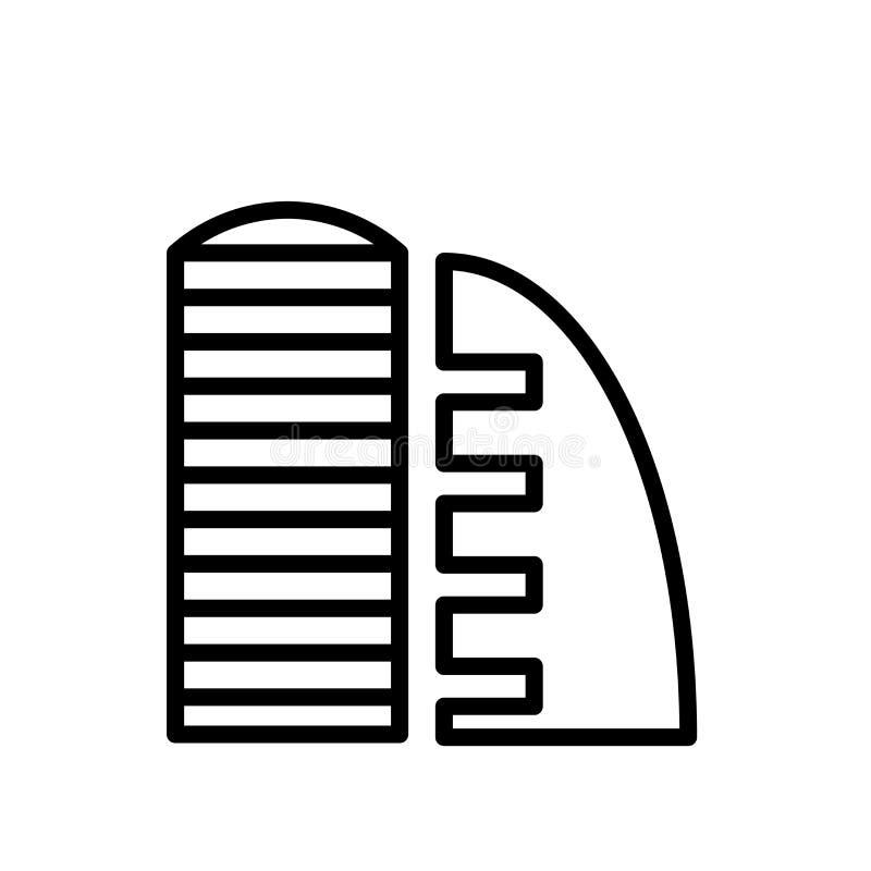 Vecteur d'icône de supermarché d'isolement sur le fond blanc, le signe de supermarché, la ligne ou le signe linéaire, conception  illustration libre de droits