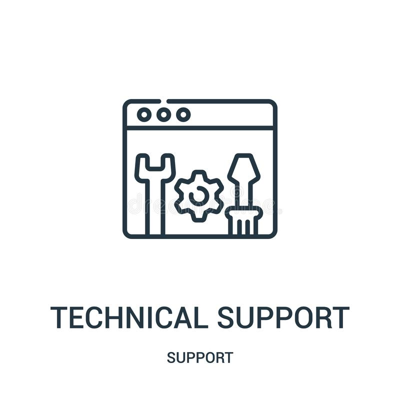 vecteur d'icône de support technique de collection de soutien Ligne mince illustration de vecteur d'icône d'ensemble de support t illustration de vecteur
