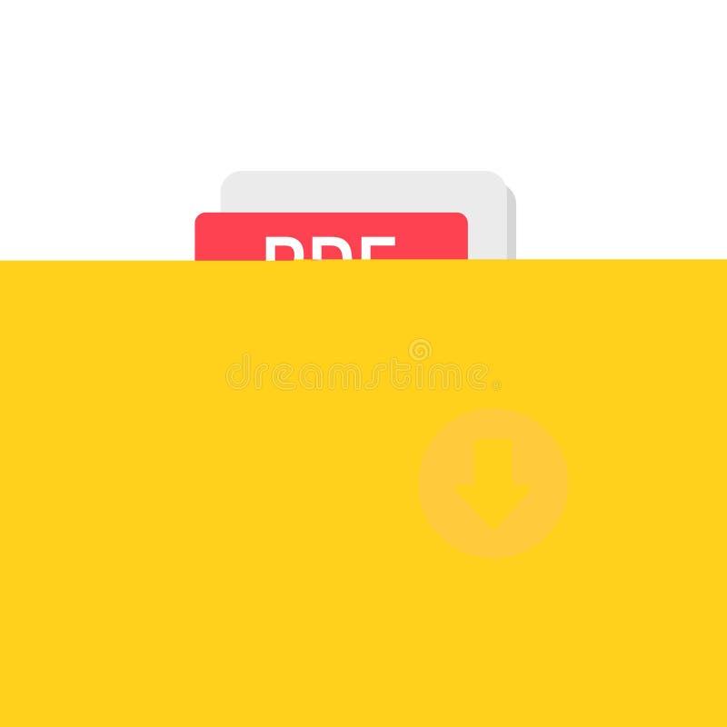 Vecteur d'icône de téléchargement de pdf d'isolement sur le symbole de fichier document de bande dessinée ou l'image blanc et pla illustration libre de droits