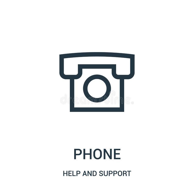 vecteur d'icône de téléphone de collection d'aide et de soutien Ligne mince illustration de vecteur d'icône d'ensemble de télépho illustration libre de droits