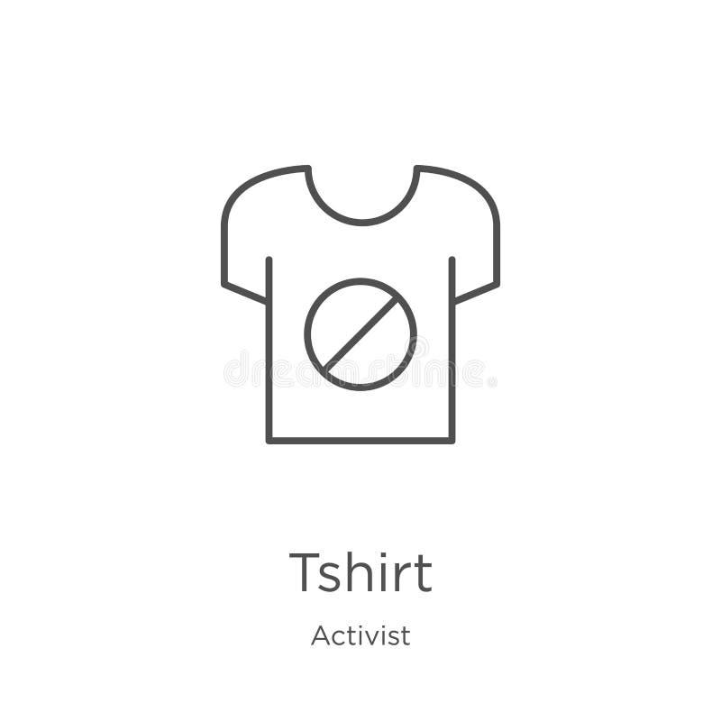 vecteur d'icône de T-shirt de collection d'activiste Ligne mince illustration de vecteur d'icône d'ensemble de T-shirt Contour, l illustration de vecteur