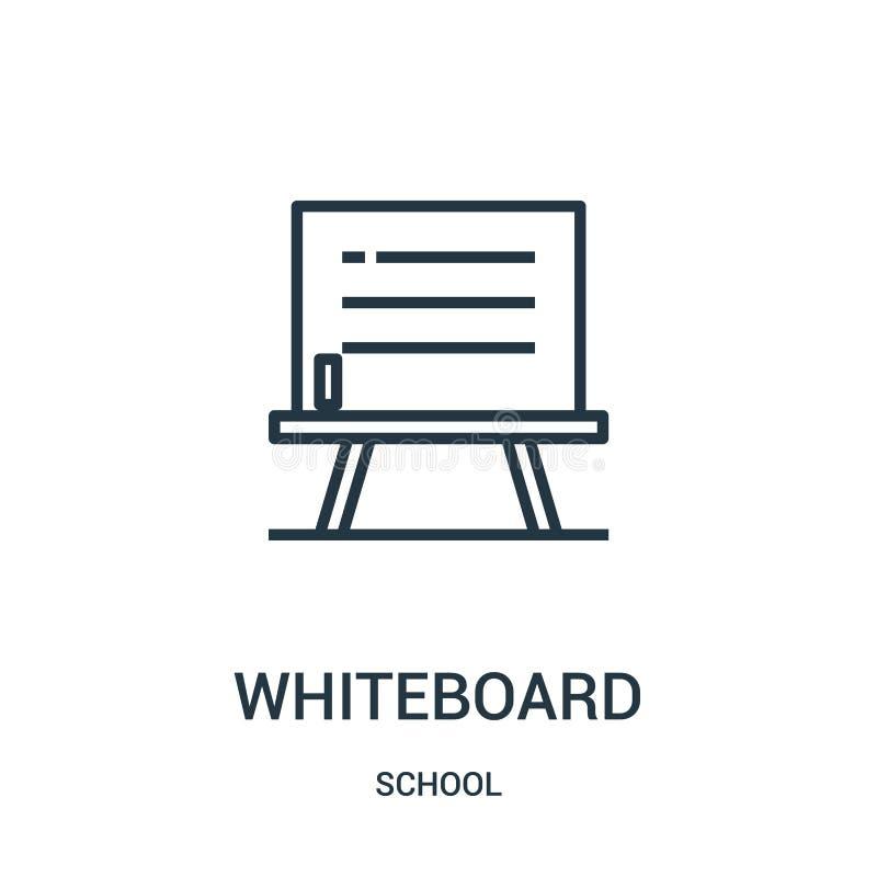vecteur d'icône de tableau blanc de collection d'école Ligne mince illustration de vecteur d'icône d'ensemble de tableau blanc Sy illustration de vecteur