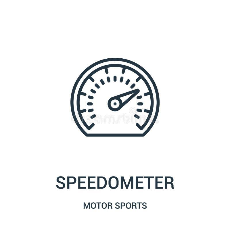 vecteur d'icône de tachymètre de collection de sports automobiles Ligne mince illustration de vecteur d'ic?ne d'ensemble de tachy illustration de vecteur
