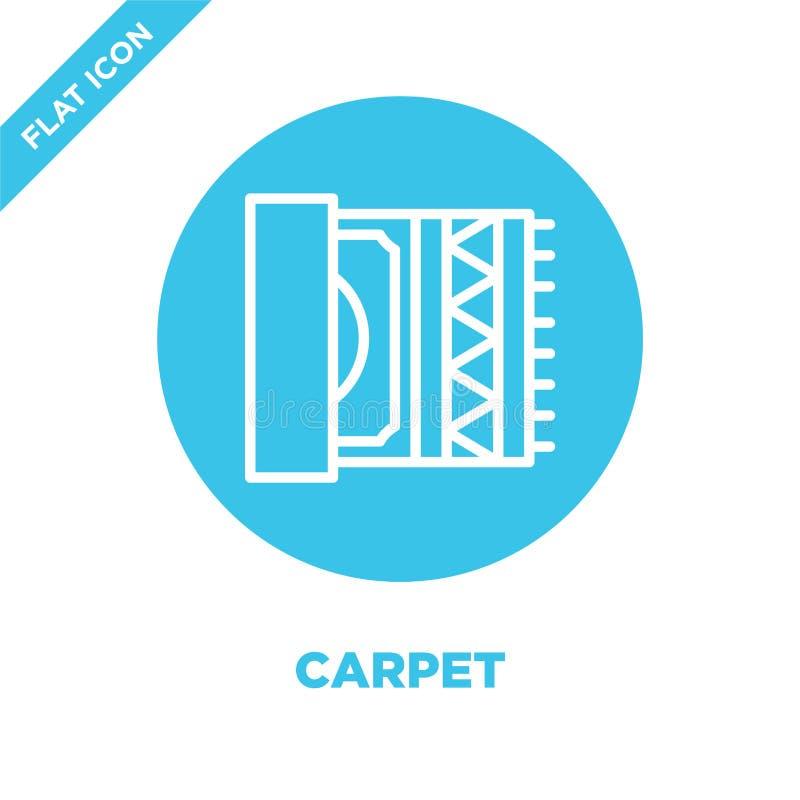 vecteur d'icône de tapis de collection de meubles Ligne mince illustration de vecteur d'icône d'ensemble de tapis Symbole linéair illustration de vecteur