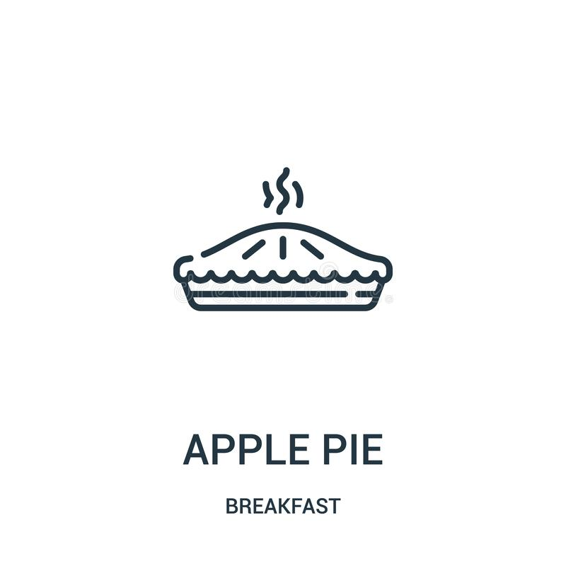 vecteur d'icône de tarte aux pommes de collection de petit déjeuner Ligne mince illustration de vecteur d'icône d'ensemble de tar illustration libre de droits