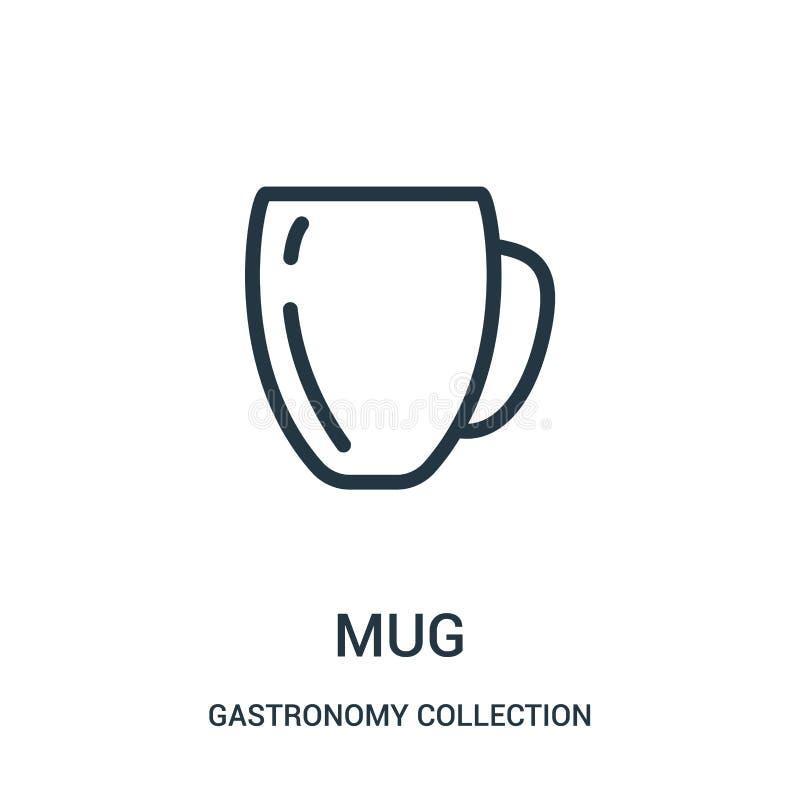 vecteur d'icône de tasse de collection de collection de gastronomie Ligne mince illustration de vecteur d'icône d'ensemble de tas illustration stock