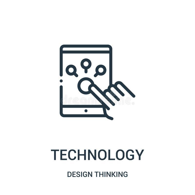 vecteur d'icône de technologie de la collection de pensée de conception Ligne mince illustration de vecteur d'ic?ne d'ensemble de illustration de vecteur
