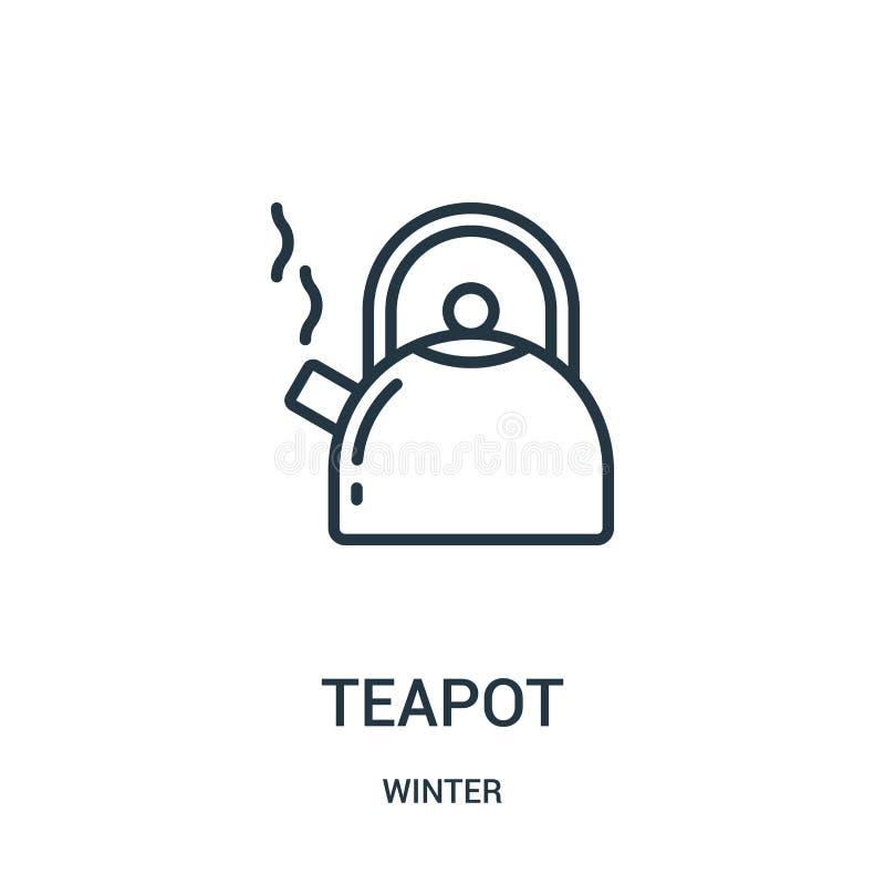 vecteur d'icône de théière de collection d'hiver Ligne mince illustration de vecteur d'icône d'ensemble de théière Symbole linéai illustration libre de droits