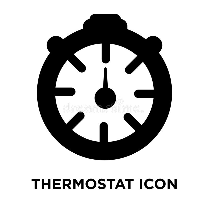Vecteur d'icône de thermostat d'isolement sur le fond blanc, concep de logo illustration libre de droits