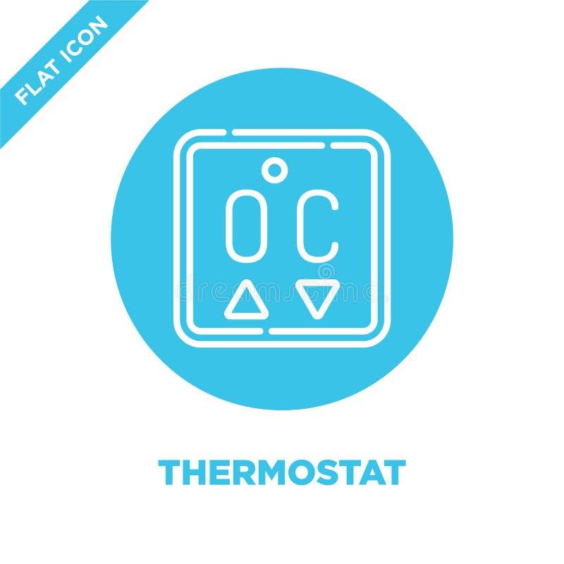 vecteur d'icône de thermostat de la collection à la maison futée Ligne mince illustration de vecteur d'icône d'ensemble de thermo illustration stock