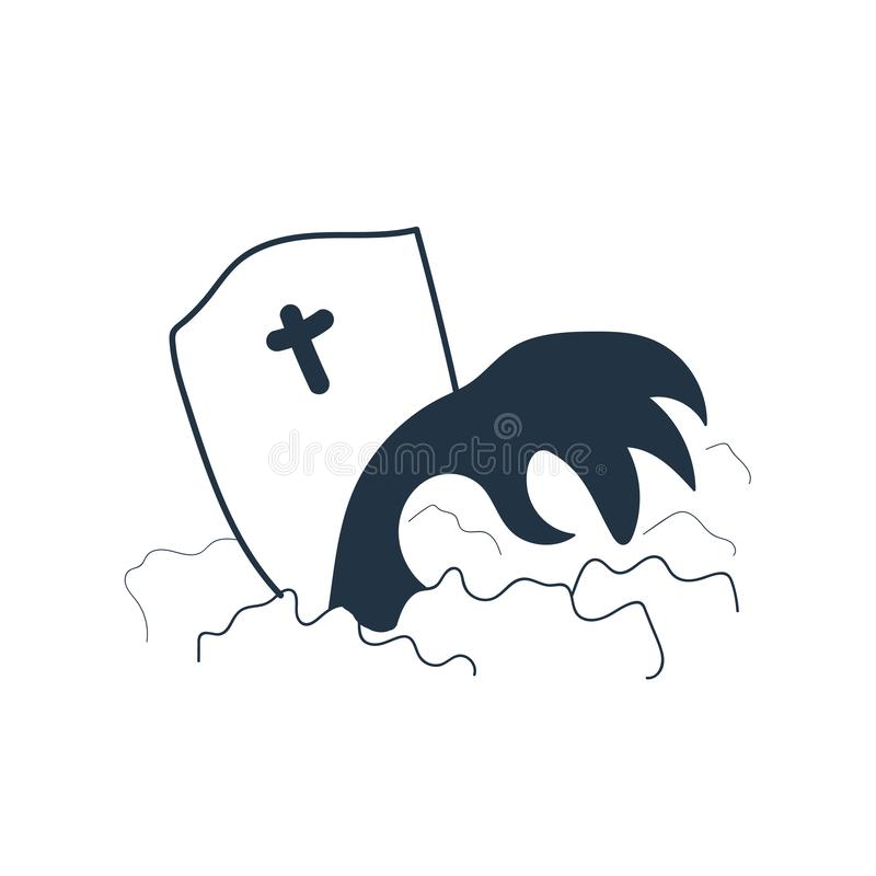 Vecteur d'icône de tombe d'isolement sur le fond blanc, signe de tombe illustration de vecteur