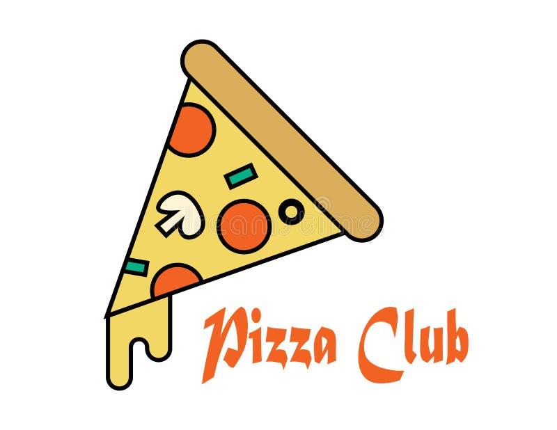 Vecteur d'icône de tranche de pizza Tranche de pizza avec du fromage et les pepperoni fondus Icône de tranche de pizza d'aliments illustration libre de droits