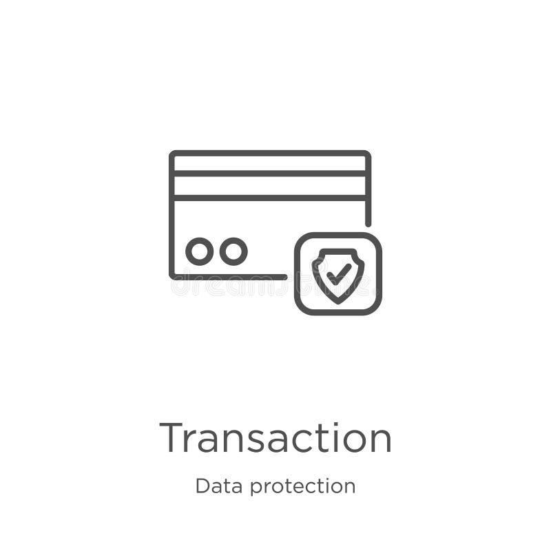 vecteur d'icône de transaction de collection de protection des données Ligne mince illustration de vecteur d'ic?ne d'ensemble de  illustration libre de droits
