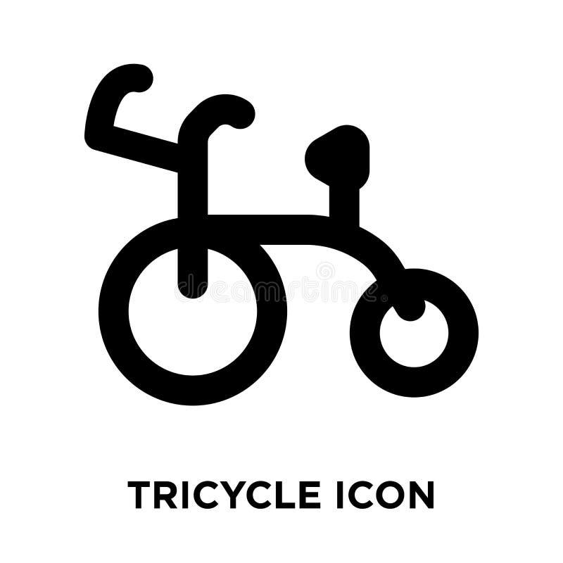Vecteur d'icône de tricycle d'isolement sur le fond blanc, concept de logo illustration libre de droits