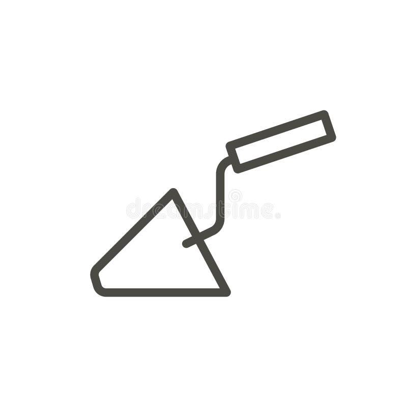 Vecteur d'icône de truelle de construction Bâtiment d'ensemble Ligne symbole de spatule de réparation illustration stock