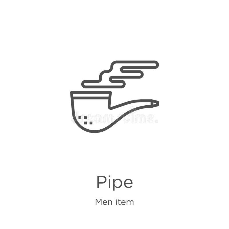 vecteur d'icône de tuyau de collection d'article des hommes Ligne mince illustration de vecteur d'icône d'ensemble de tuyau Conto illustration libre de droits