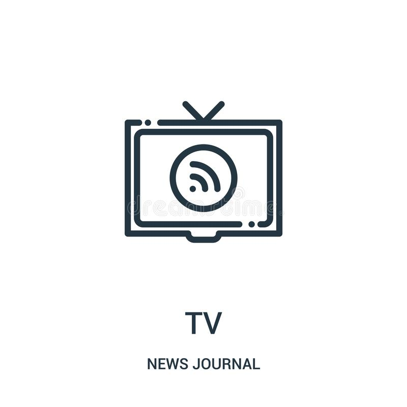 vecteur d'icône de TV de collection de journal de nouvelles Ligne mince illustration de vecteur d'icône d'ensemble de TV Symbole  illustration libre de droits