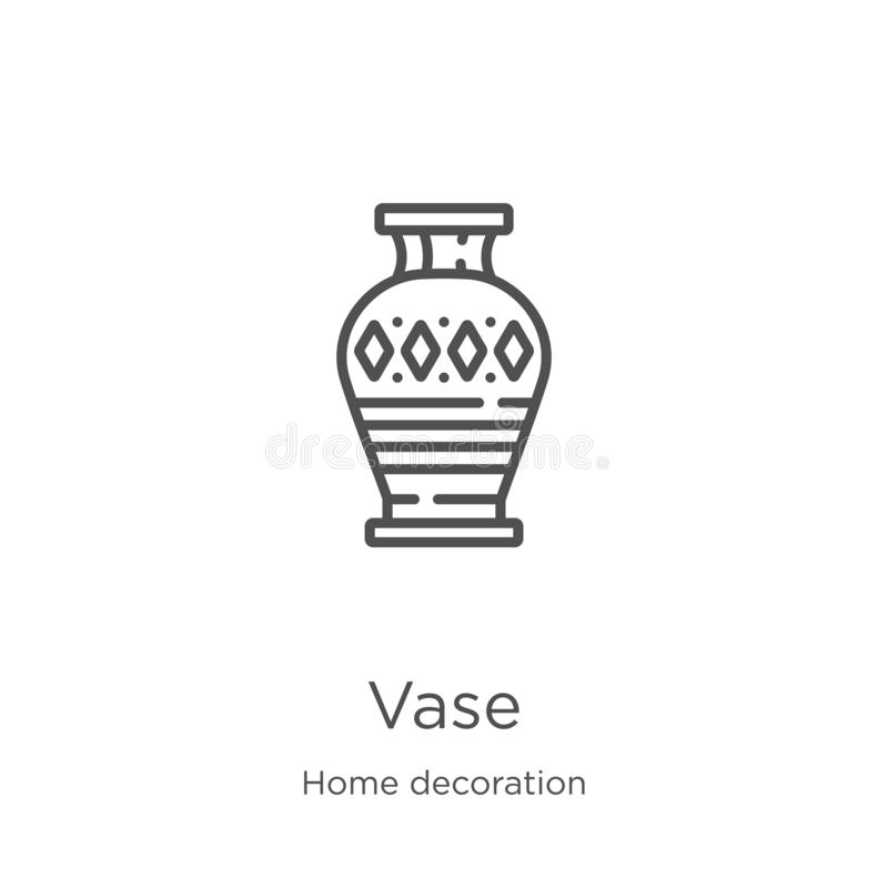 vecteur d'icône de vase de la collection à la maison de décoration Ligne mince illustration de vecteur d'ic?ne d'ensemble de vase illustration de vecteur