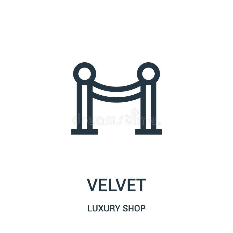 vecteur d'icône de velours de la collection de luxe de magasin Ligne mince illustration de vecteur d'icône d'ensemble de velours illustration libre de droits