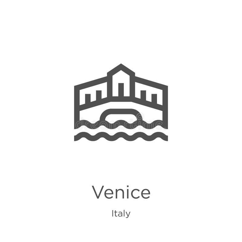 vecteur d'icône de Venise de collection de l'Italie Ligne mince illustration de vecteur d'icône d'ensemble de Venise Contour, lig illustration de vecteur