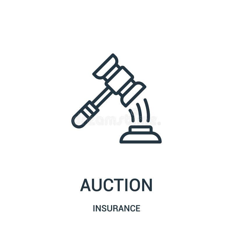 vecteur d'icône de vente aux enchères de collection d'assurance Ligne mince illustration de vecteur d'icône d'ensemble de vente a illustration stock