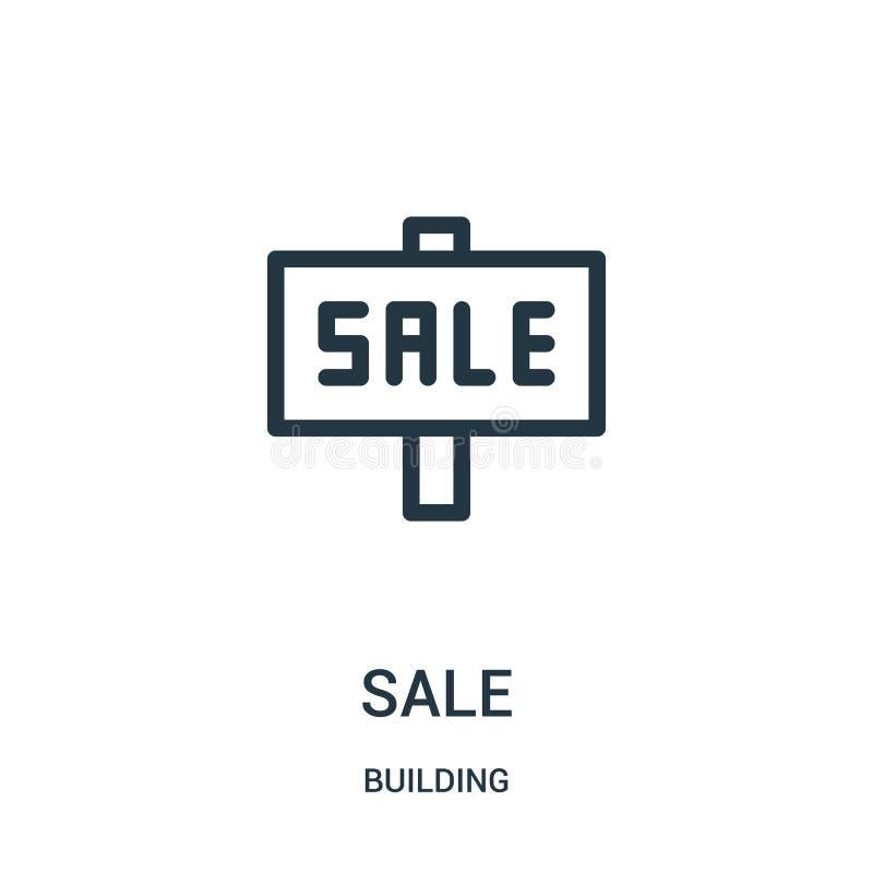 vecteur d'icône de vente de collection de bâtiment Ligne mince illustration de vecteur d'icône d'ensemble de vente illustration stock