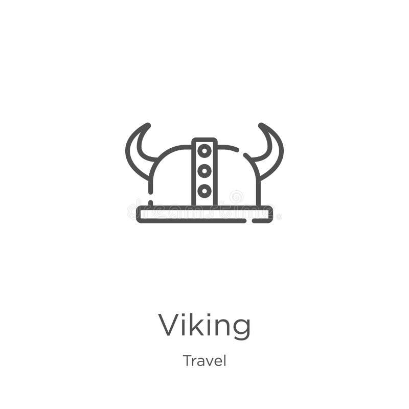 vecteur d'icône de Viking de collection de voyage Ligne mince illustration de vecteur d'icône d'ensemble de Viking Contour, ligne illustration stock