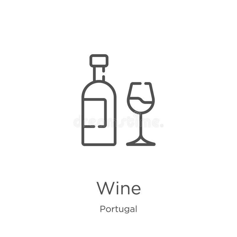 Vecteur d'icône de vin de collection du Portugal Ligne mince illustration de vecteur d'ic?ne d'ensemble de vin Contour, ligne min illustration stock