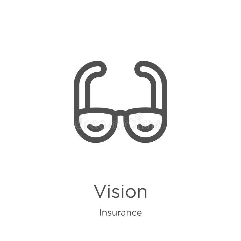 vecteur d'icône de vision de collection d'assurance Ligne mince illustration de vecteur d'ic?ne d'ensemble de vision Contour, lig illustration libre de droits
