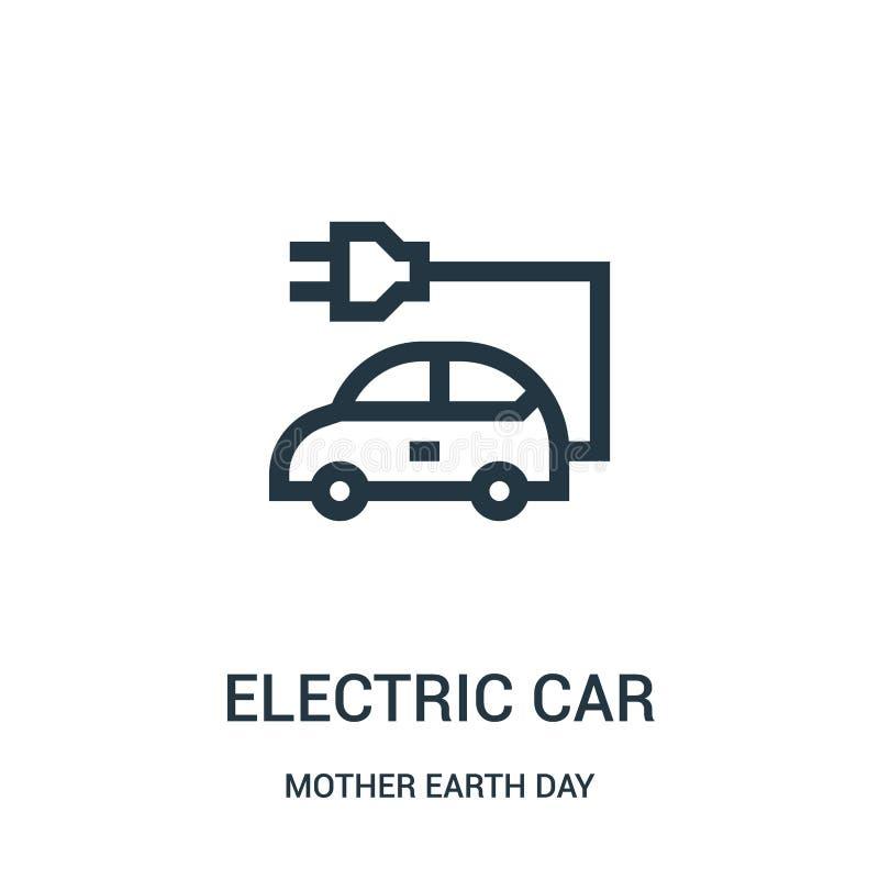 vecteur d'icône de voiture électrique de collection de jour de Terre Ligne mince illustration de vecteur d'icône d'ensemble de vo illustration stock