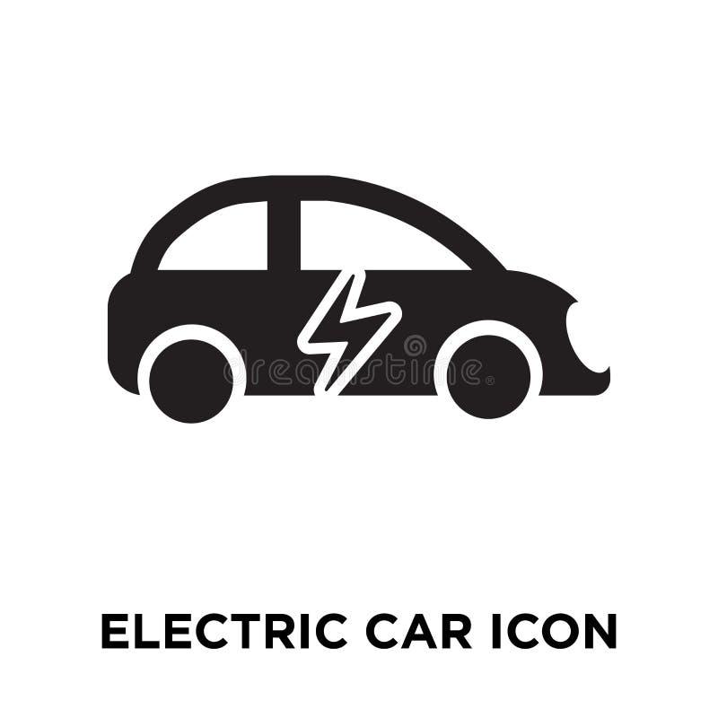 Vecteur d'icône de voiture électrique d'isolement sur le fond blanc, logo concentré illustration libre de droits