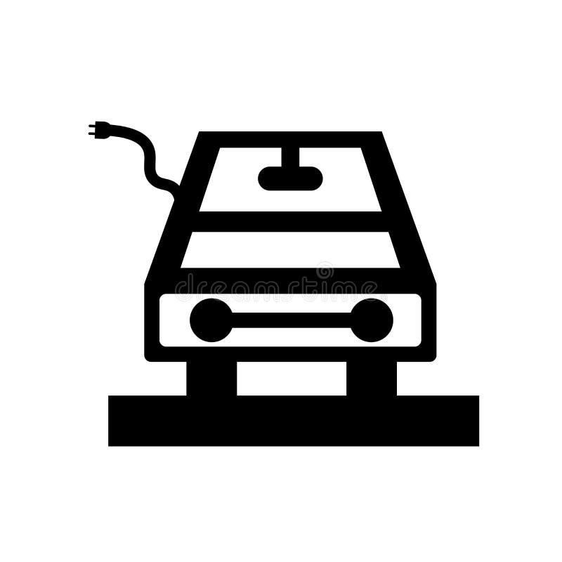 Vecteur d'icône de voiture électrique d'isolement sur le fond blanc, signe de voiture électrique, symboles noirs illustration libre de droits