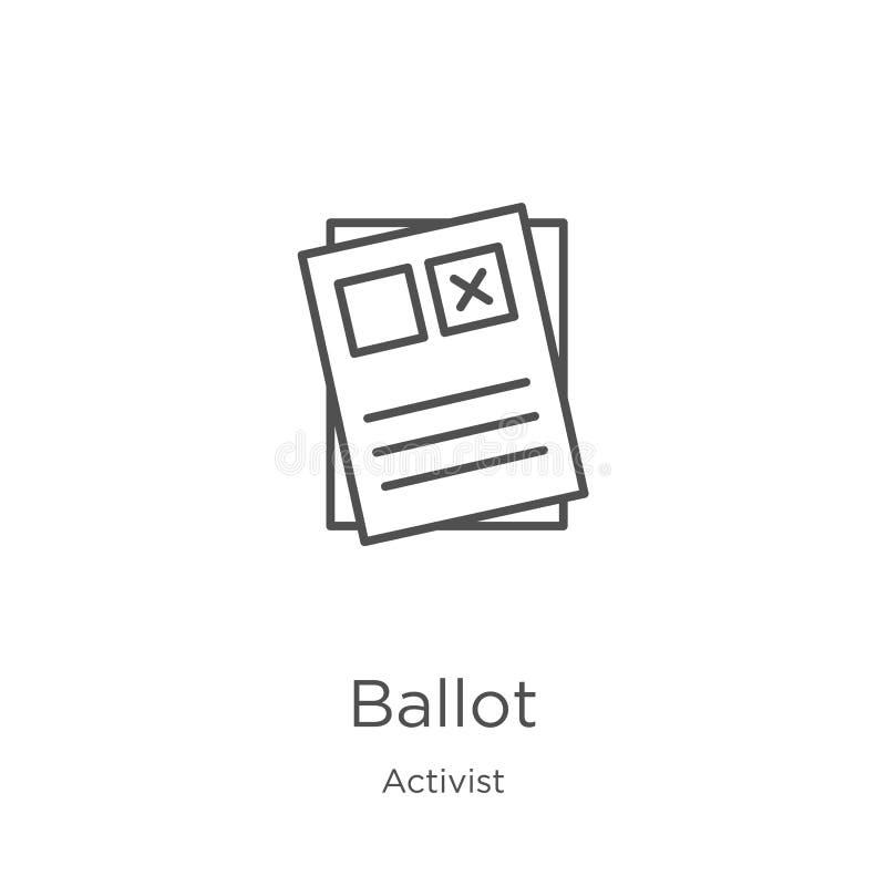 vecteur d'icône de vote de collection d'activiste Ligne mince illustration de vecteur d'icône d'ensemble de vote Contour, ligne m illustration de vecteur
