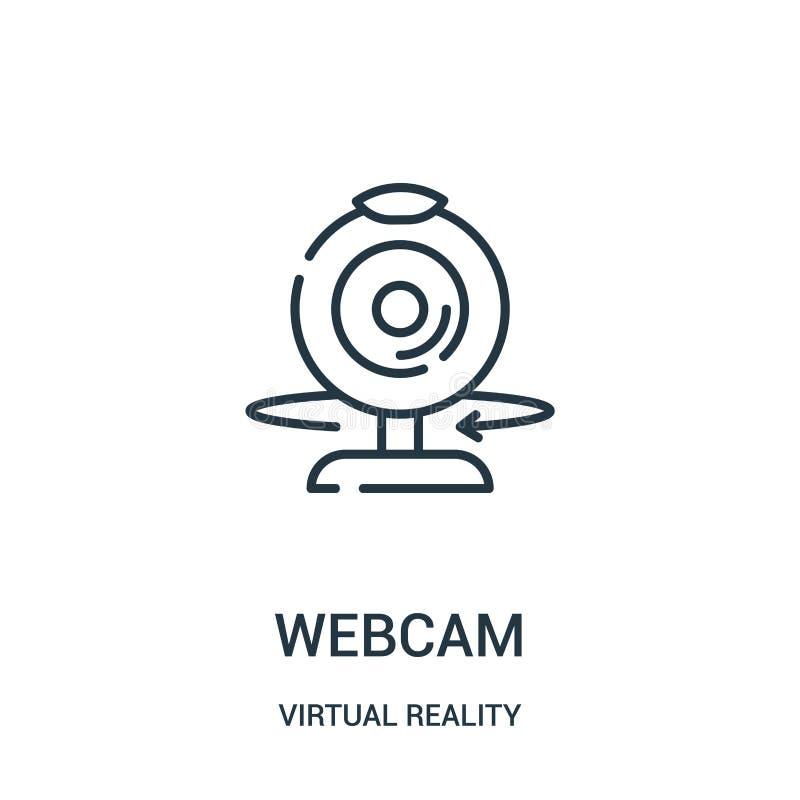 vecteur d'icône de webcam de collection de réalité virtuelle Ligne mince illustration de vecteur d'ic?ne d'ensemble de webcam illustration stock