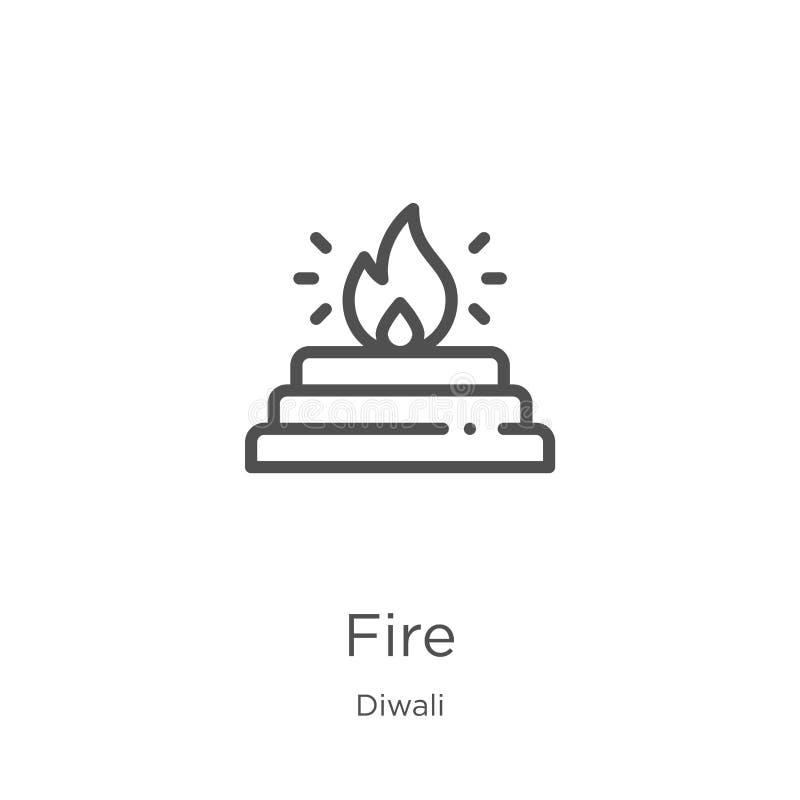 vecteur d'icône du feu de collection de diwali Ligne mince illustration de vecteur d'ic?ne d'ensemble du feu Contour, ligne mince illustration stock