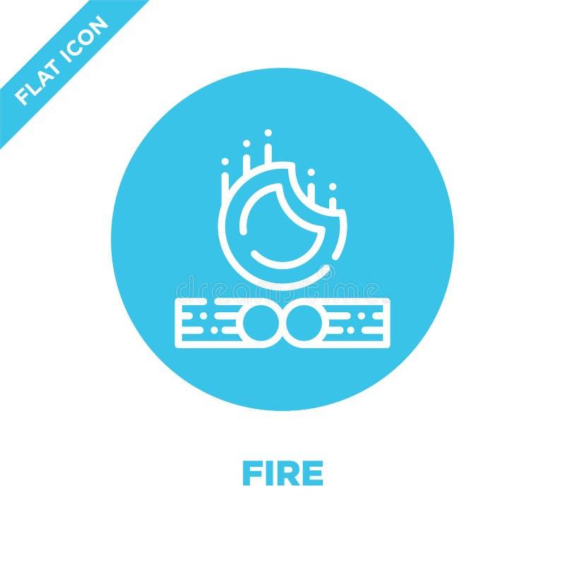 vecteur d'icône du feu de la collection campante Ligne mince illustration de vecteur d'icône d'ensemble du feu Symbole linéaire p illustration stock