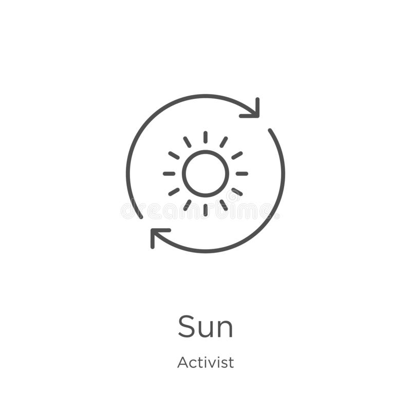 vecteur d'icône du soleil de collection d'activiste r Contour, ligne mince icône du soleil pour le site Web illustration libre de droits
