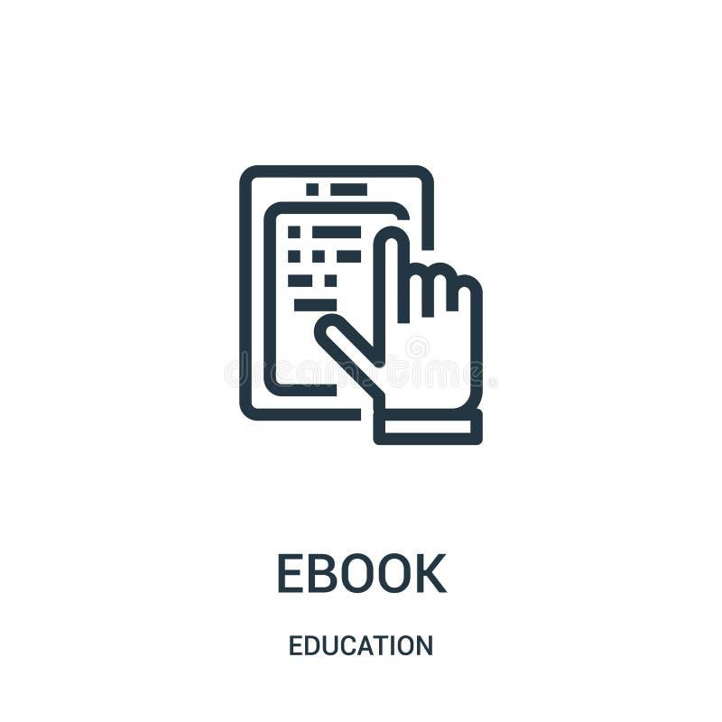 vecteur d'icône d'ebook de collection d'éducation Ligne mince illustration de vecteur d'icône d'ensemble d'ebook Symbole linéaire illustration stock